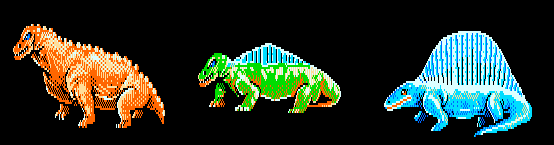 These three species (Moschops Mostrodon Dimetrodon) are all next to each other on the chart. Mostrodon was created for the game and looks to serve as an evolutionary interstitial or hybrid of Moschops and Dimetrodon. Which is really cool, and of all the critters created for the game I like when they serve this role the most.